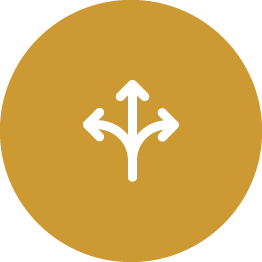 3 arrows pointing different directions